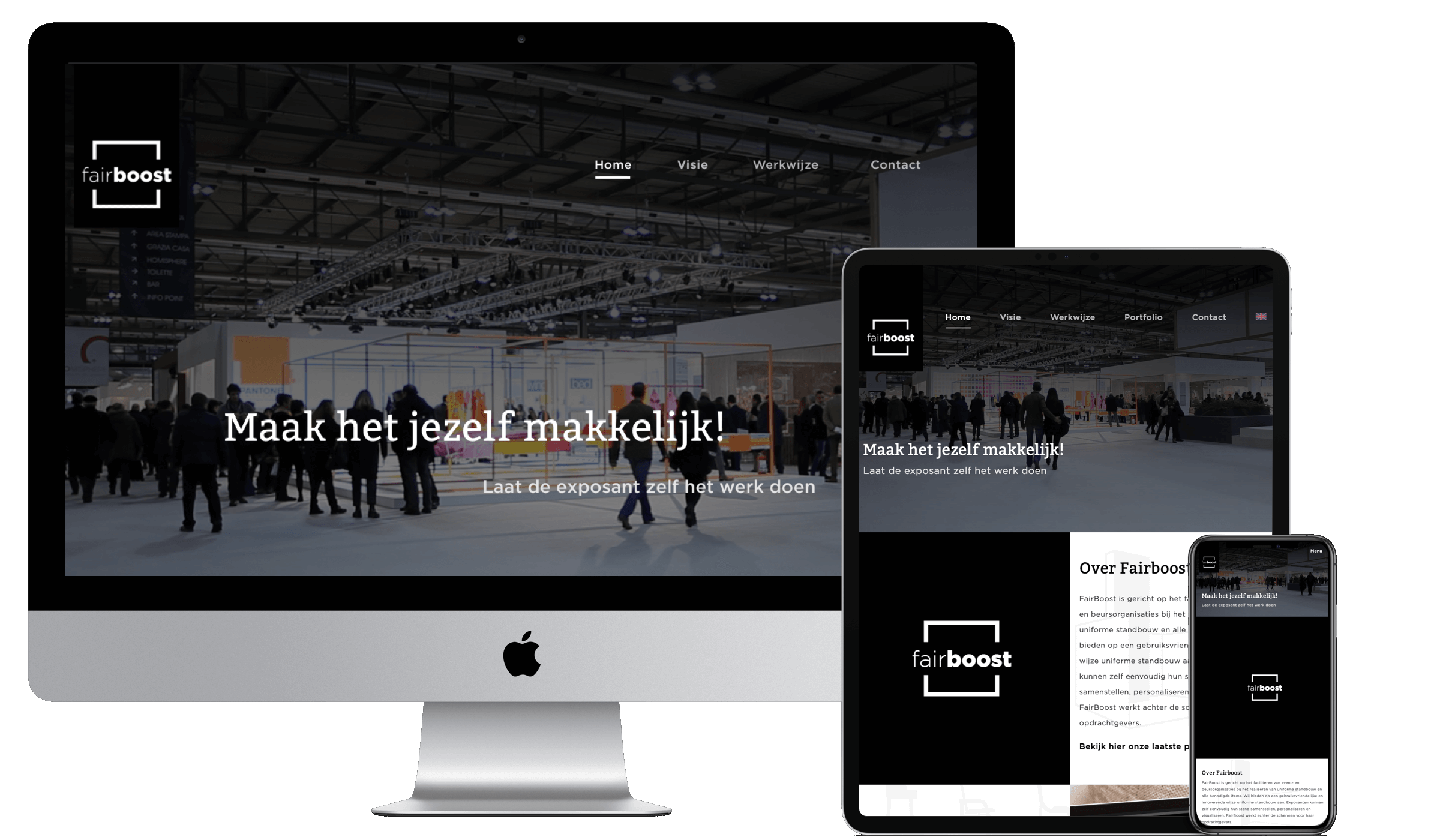 Mock-up van Fairboost website. Gemaakt met Craft CMS